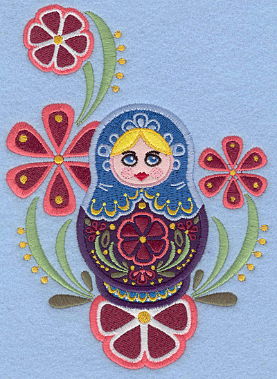 Embroidery Design: Matryoshka Doll B Appliques floral5.00w X 6.95h
