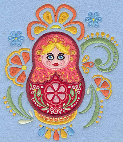 Embroidery Design: Matryoshka Doll C Appliques floral4.89w X 5.72h
