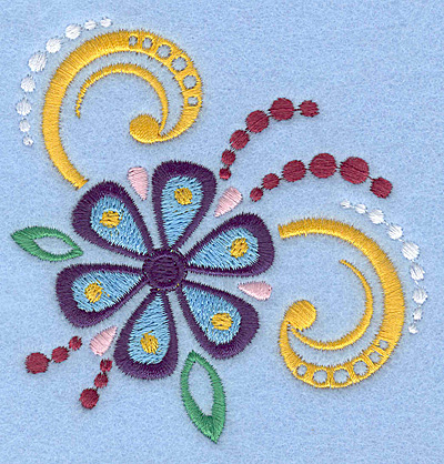 Embroidery Design: Flower with swirls small 3.30w X 3.42h