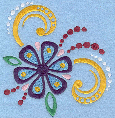 Embroidery Design: Flower with swirls large5.00w X 5.19h