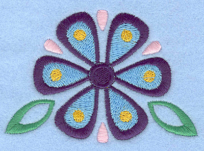 Embroidery Design: Flower with leaves small3.52w X 2.40h