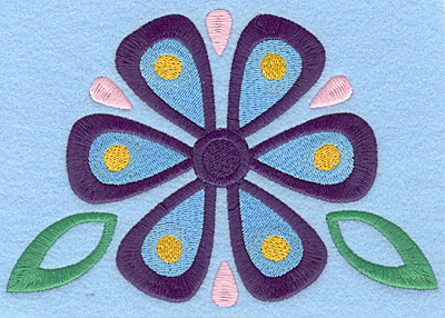 Embroidery Design: Flower with leaves large 6.33w X 4.32h