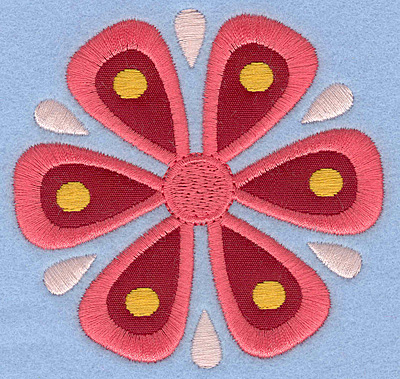 Embroidery Design: Flower B Single applique small3.52w X 3.38h
