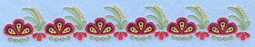 Embroidery Design: Floral border7.00w X 1.02h