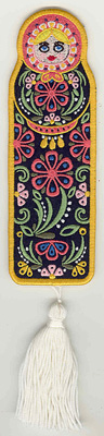 Embroidery Design: Matryoshka Doll Bookmark  6.99w X 2.28h