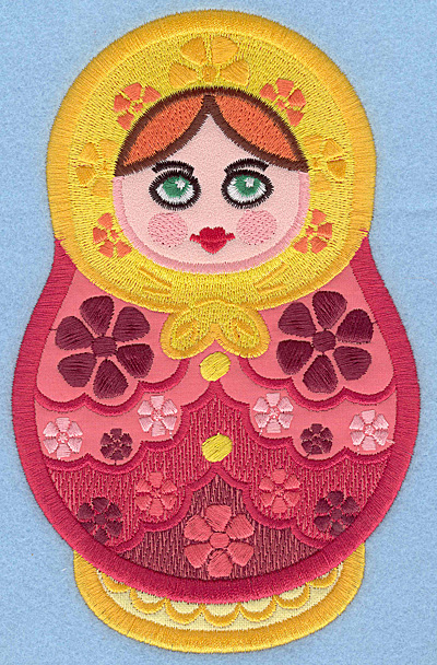 "Embroidery Design: Matryoshka Applique Doll A large 4.47""w X 7.00""h"