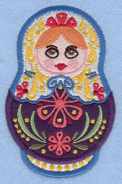 "Embroidery Design: Matryoshka Applique Doll B small 2.49""w X 3.90""h"