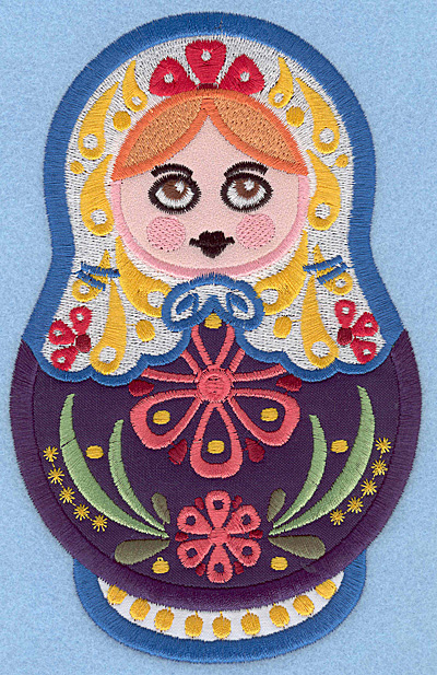 "Embroidery Design: Matryoshka Applique Doll B large 4.47""w X 7.00""h"
