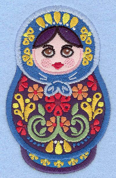 """Embroidery Design: Matryoshka Applique Doll C small 2.49"""" w X 3.90""""h"""