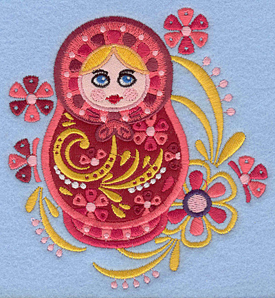 "Embroidery Design: Matryoshka Applique Doll E with flowers 4.37""w X 4.72""h"