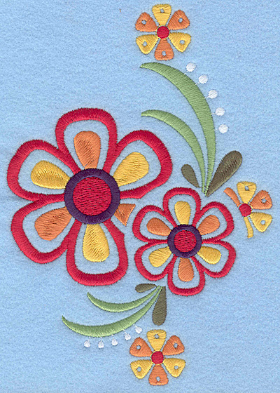 "Embroidery Design: Floral Combo C large 4.88""w X 7.00""h"