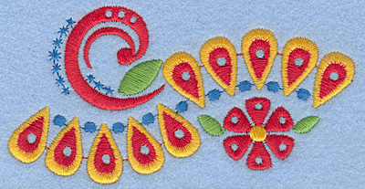 "Embroidery Design: Floral Combo G large 4.56""w X 2.35""h"