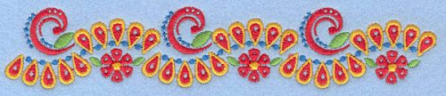 "Embroidery Design: Floral border 7.00""w X 1.31""h"