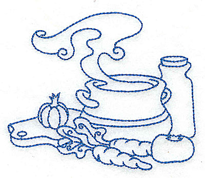 Embroidery Design: Soup Bowl with vegetables medium 4.92w X 4.10h