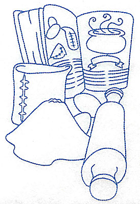 Embroidery Design: Recipe book and rolling pin large 4.39w X 6.92h