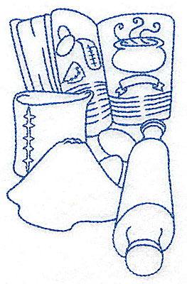 Embroidery Design: Recipe book and rolling pin medium 3.12w X 4.91h
