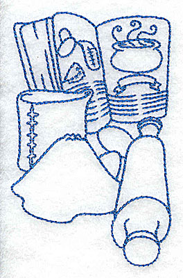 Embroidery Design: Recipe book and rolling pin small 2.45w X 3.86h