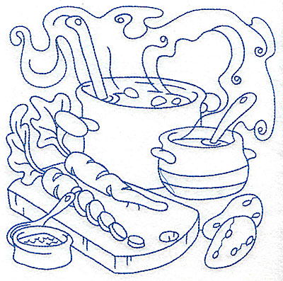 Embroidery Design: Pot with ladle and vegetables large 6.98w X 6.95h