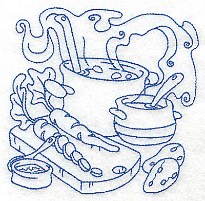 Embroidery Design: Pot with ladle and vegetables medium 4.95w X 4.93h