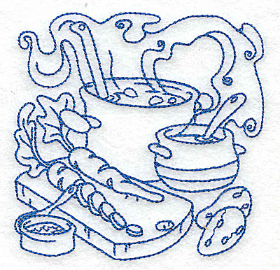 Embroidery Design: Pot with ladle and vegetables small 3.87w X 3.85h