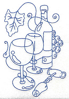 Embroidery Design: Wine Bottle with glasses large 4.60w X 6.98h