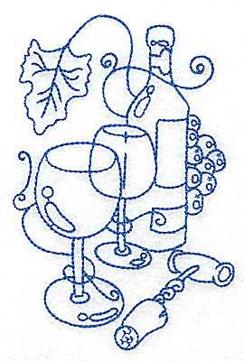 Embroidery Design: Wine Bottle with glasses medium 3.26w X 4.95h