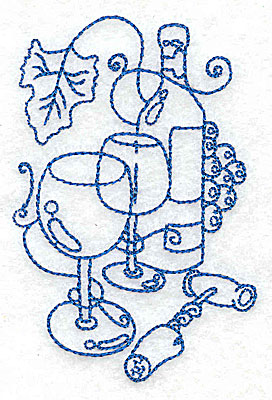 Embroidery Design: Wine Bottle with glasses small 2.57w X 3.87h
