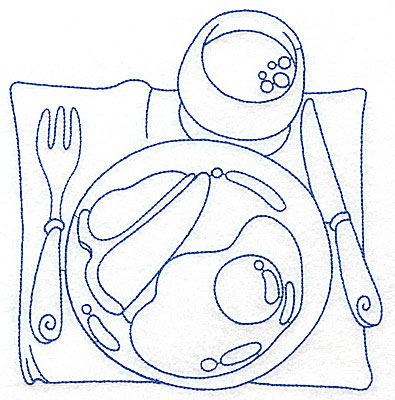 Embroidery Design: Breakfast place setting large 6.69w X 6.91h