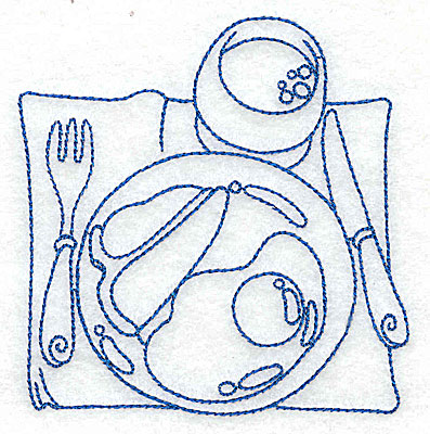 Embroidery Design: Breakfast place setting small 3.73w X 3.86h