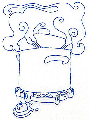 Embroidery Design: Pot cooking on burner large 4.95w X 6.95h