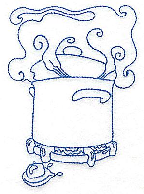 Embroidery Design: Pot cooking on burner medium 3.54w X 4.96h