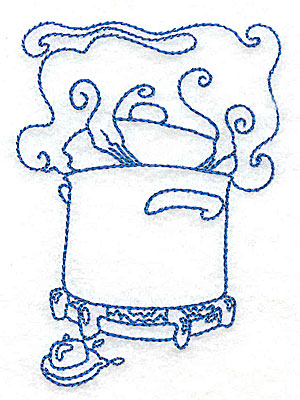 Embroidery Design: Pot cooking on burner small 2.76w X 3.87h