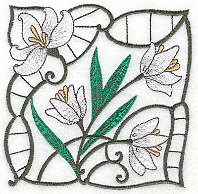 Embroidery Design: Lily Block 1 large 4.88w X 4.88h