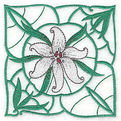 Embroidery Design: Lily Block 2 small 3.81w X 3.88h