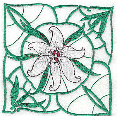Embroidery Design: Lily Block 2 large 4.94w X 5.00h