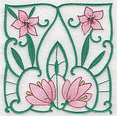 Embroidery Design: Lily Block 3 large 4.88w X 4.94h