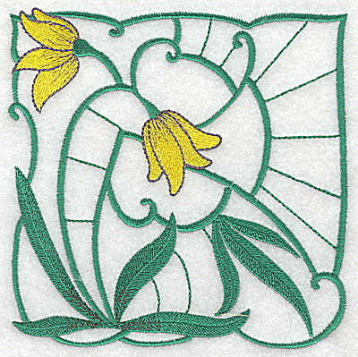 Embroidery Design: Lily Block 4 large 4.94w X 4.88h