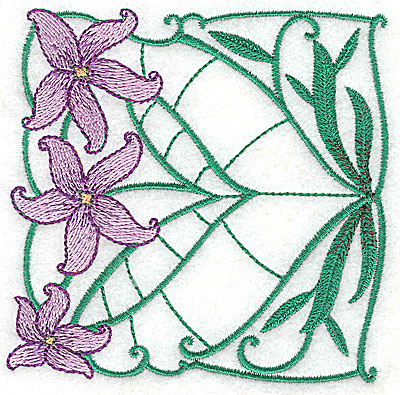 Embroidery Design: Lily Block 6 small 3.81w X 3.81h