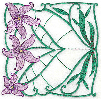 Embroidery Design: Lily Block 6 large 4.94w X 4.88h