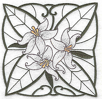 Embroidery Design: Lily Block 7 large 4.88w X 4.81h