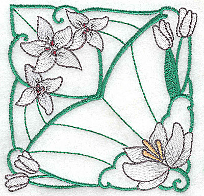 Embroidery Design: Lily Block 8 small 3.81w X 3.81h