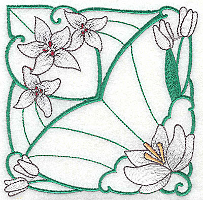 Embroidery Design: Lily Block 8 large 4.94w X 4.94h