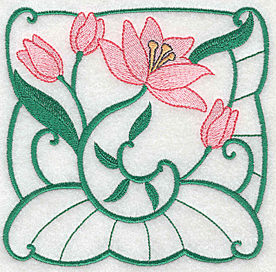 Embroidery Design: Lily Block 9 large 4.94w X 4.75h
