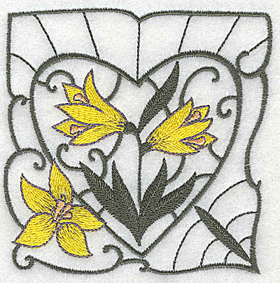 Embroidery Design: Lily Block 10 small 3.75w X 3.81h
