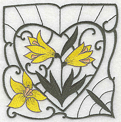 Embroidery Design: Lily Block 10 large 4.81w X 4.88h