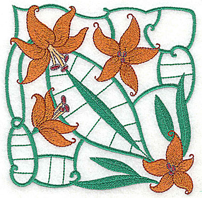 Embroidery Design: Lily Block 11 large 4.88w X 4.81h