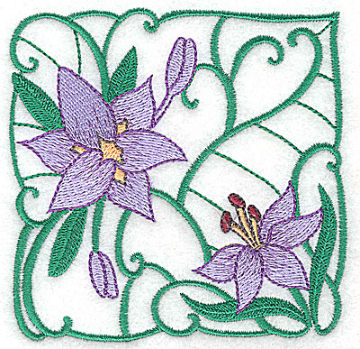 Embroidery Design: Lily Block 12 small 3.85w X 3.81h