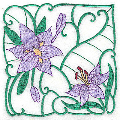 Embroidery Design: Lily Block 12 large 4.88w X 4.81h