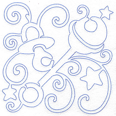 Embroidery Design: Pacifier and rattle large 6.97w X 7.01h