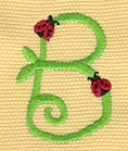 Embroidery Design: Ladybug Letters B  1.21w X 1.69h